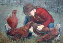 Caring for her Chickens